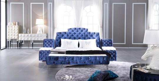 luxusni modra postel