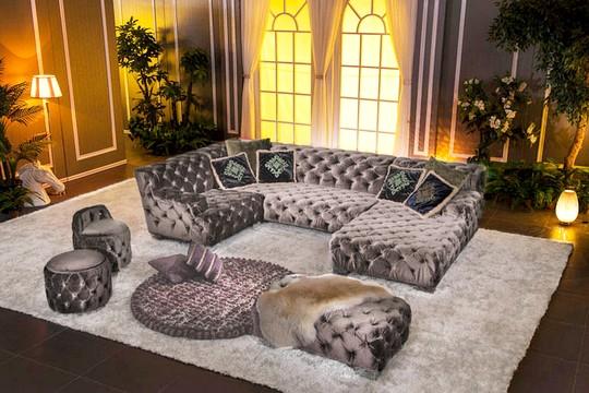 luxusni sedacka s taburetkami