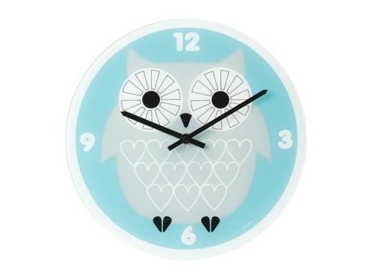 modre nastenne hodiny se sovou